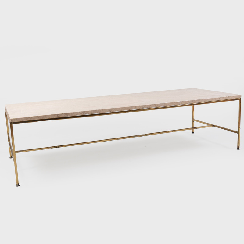 Travertine and Brass Low Table, Possibly Paul McCobb