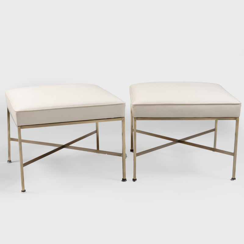 Pair of Mid Century Paul McCobb Brass-Mounted Leather Upholstered Stools