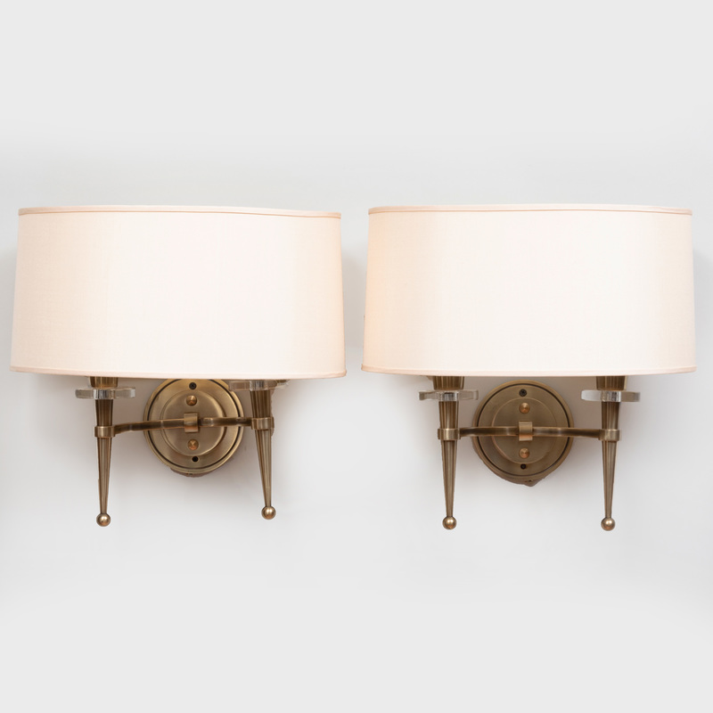 Pair of French Mid Century Brass and Glass Two-Light Sconces