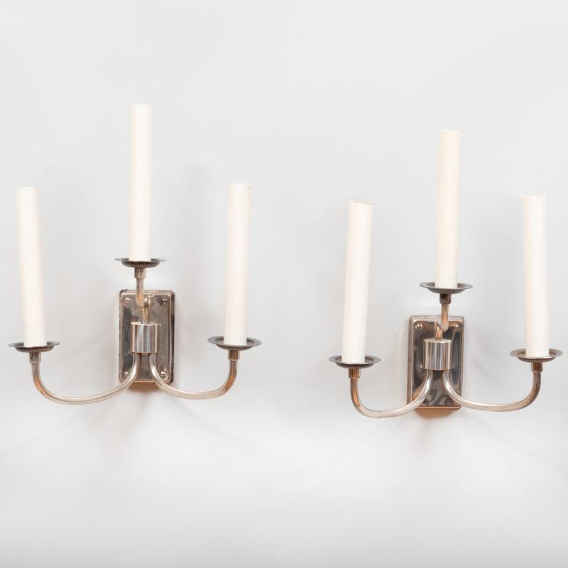 Pair of Austrian Silver Plate Three-Light Sconces