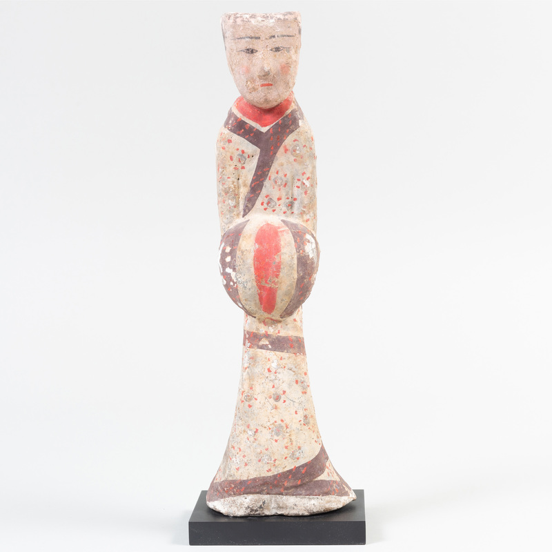 Chinese Painted Gray Pottery Figure of a Court Official