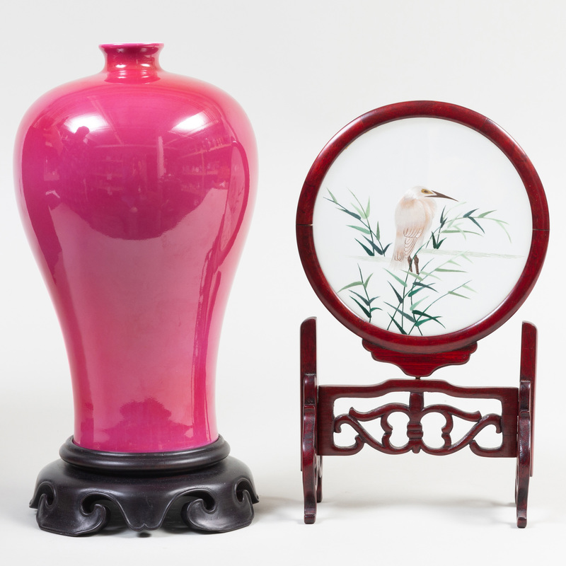 Chinese Pink Glazed Porcelain Meiping Vase from Shanghai Museum and a Silk Work Picture