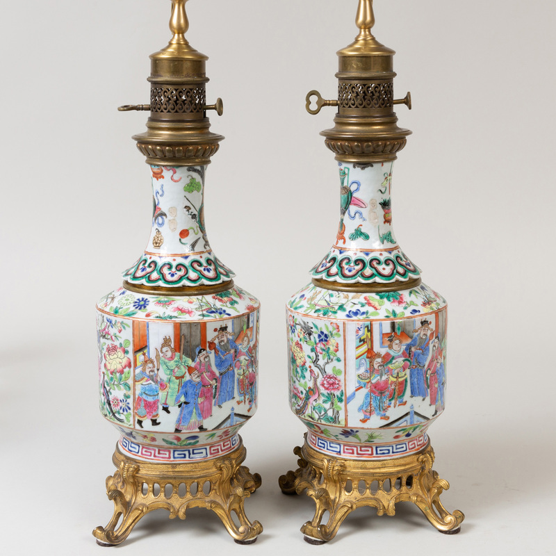 Pair of Gilt-Bronze-Mounted Chinese Export Porcelain Oil Lamps, Now Electrified