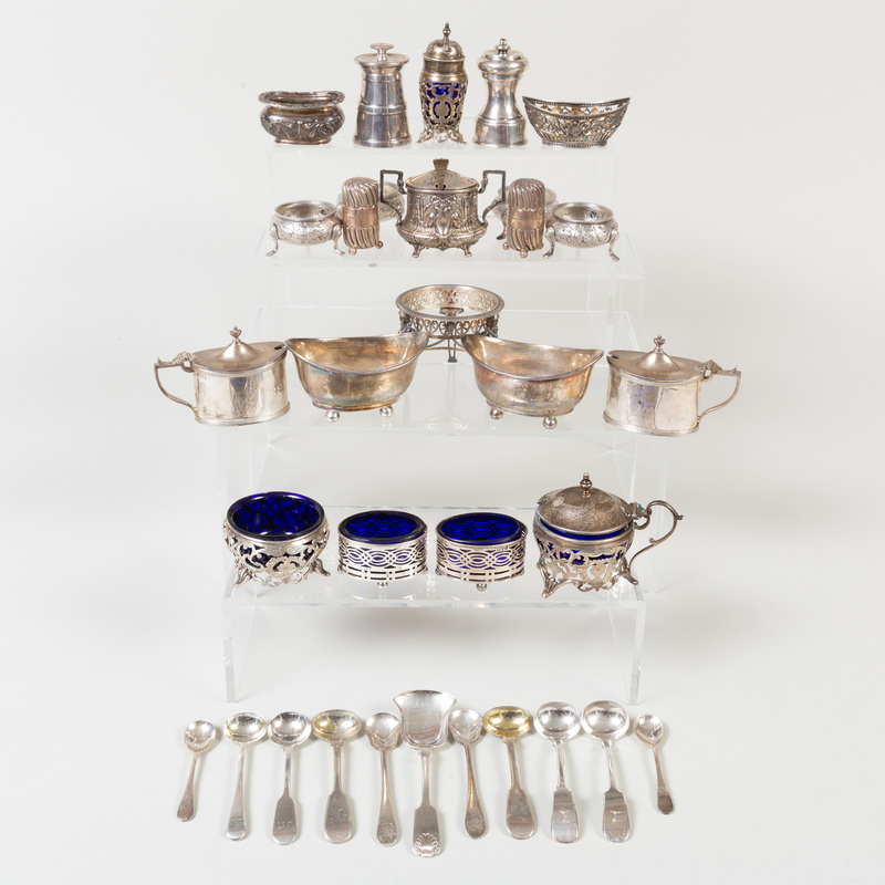 Group of British and Continental Silver Condiment Articles