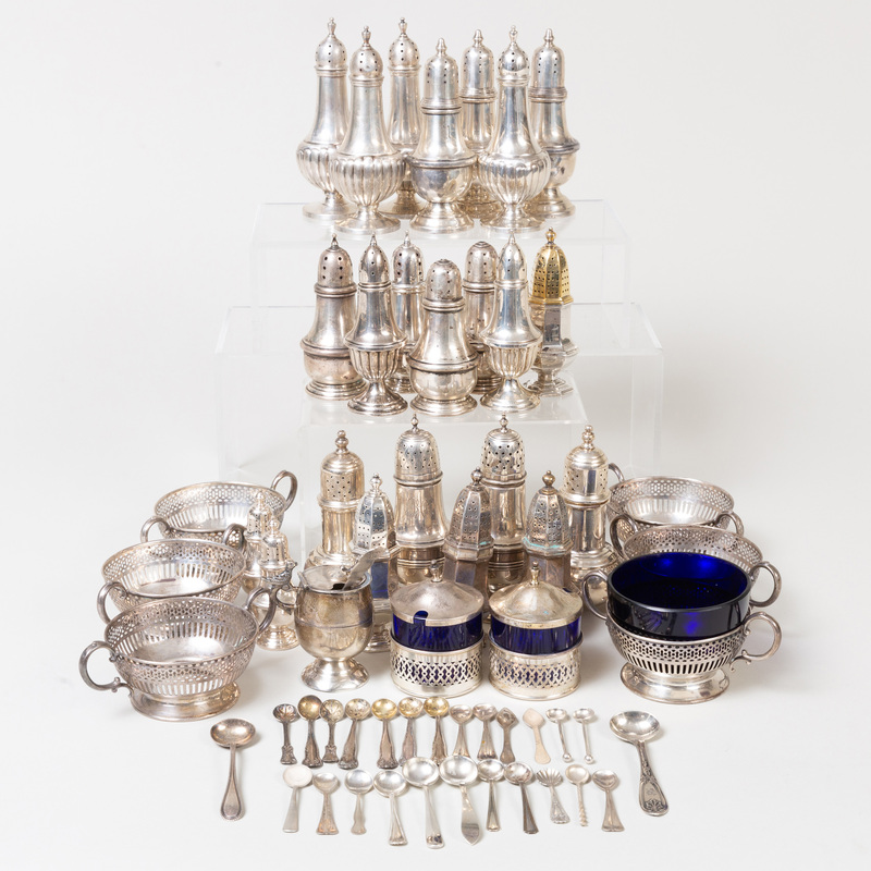 Group of Silver Condiment Articles