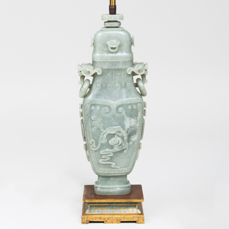Chinese Hardstone Archaistic Vase and Cover Mounted as a Lamp