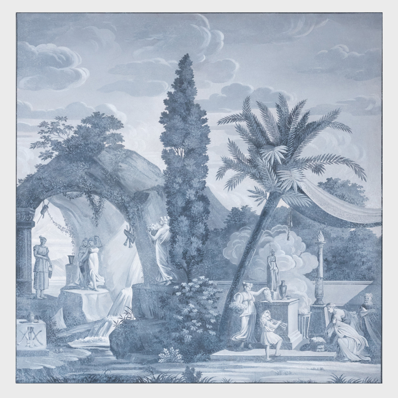 John Rosselli Painted Grisaille Wallpaper Panel, in the Manner of Dufour
