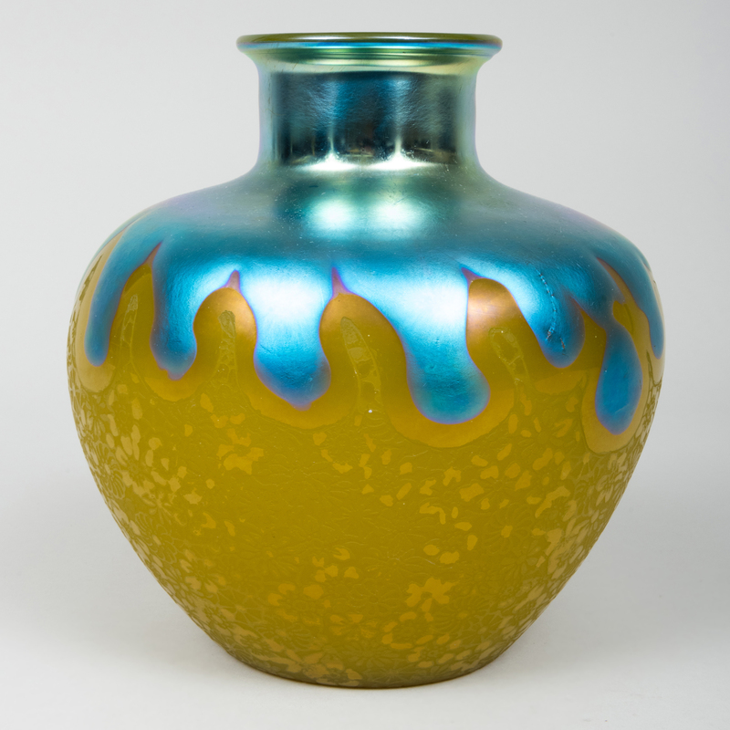 Art Nouveau Etched and Iridescent Glass Vase