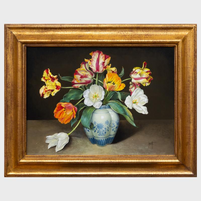 José Escofet (b. 1930): Blue and White Vase of Tulips