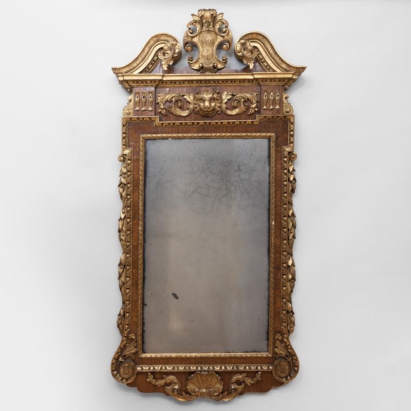 Fine and Large George II Walnut and Parcel-Gilt Mirror