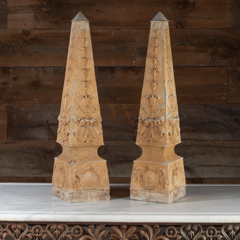 Pair of Cast Stone Obelisks with Shells and Arrows