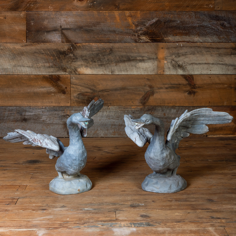 Pair of Grey Painted Lead and Zinc Models of Swans Taking Flight Fountains