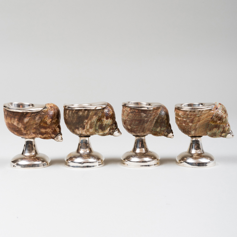 Four Continental Silver-Mounted Shell Candlesticks