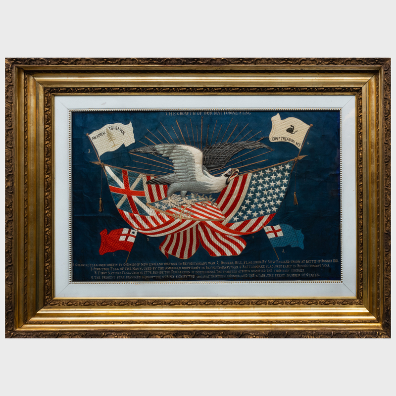 Japanese Export Silk and Metallic Thread Embroidered Panel, 'The Growth of Our National Flag'