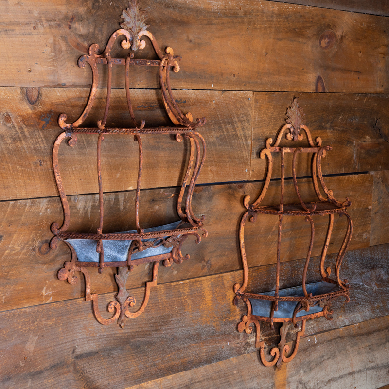 Pair of Painted Metal and Zinc Hanging Planters