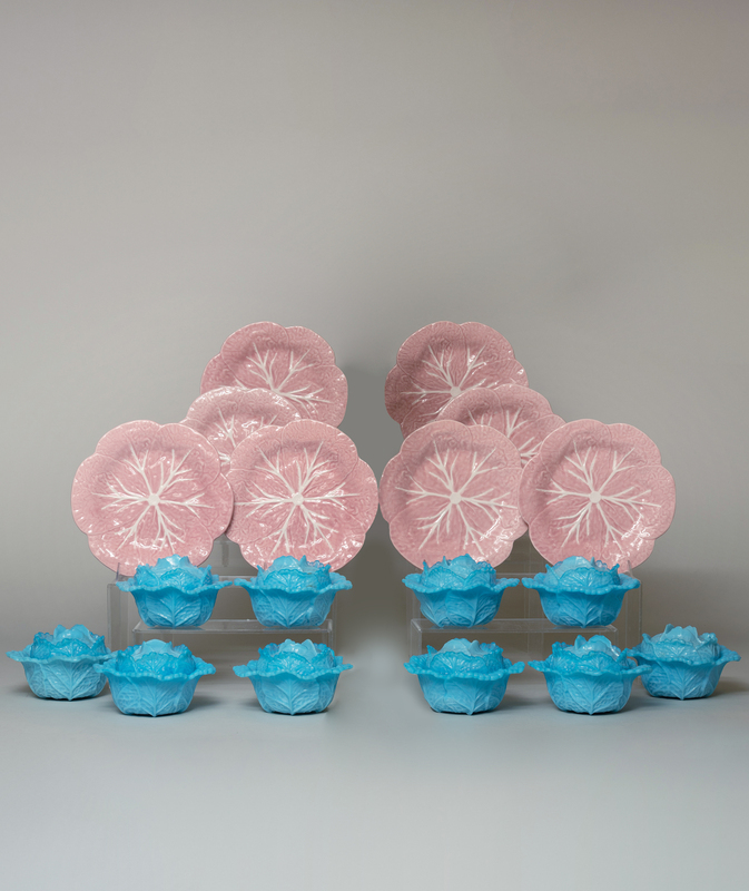 Set of Twenty-Seven Portugese Pink Majolica Cabbage Plates and a Set of Fifteen Blue Molded Glass Cabbage Tureens