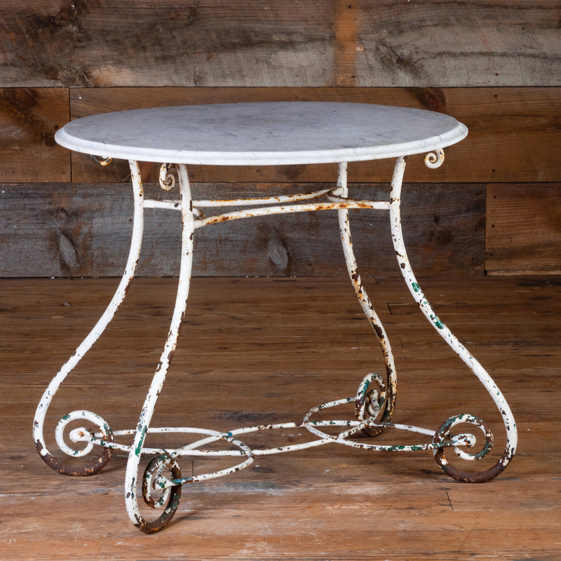 Vintage Painted Metal Garden Table with Marble Top