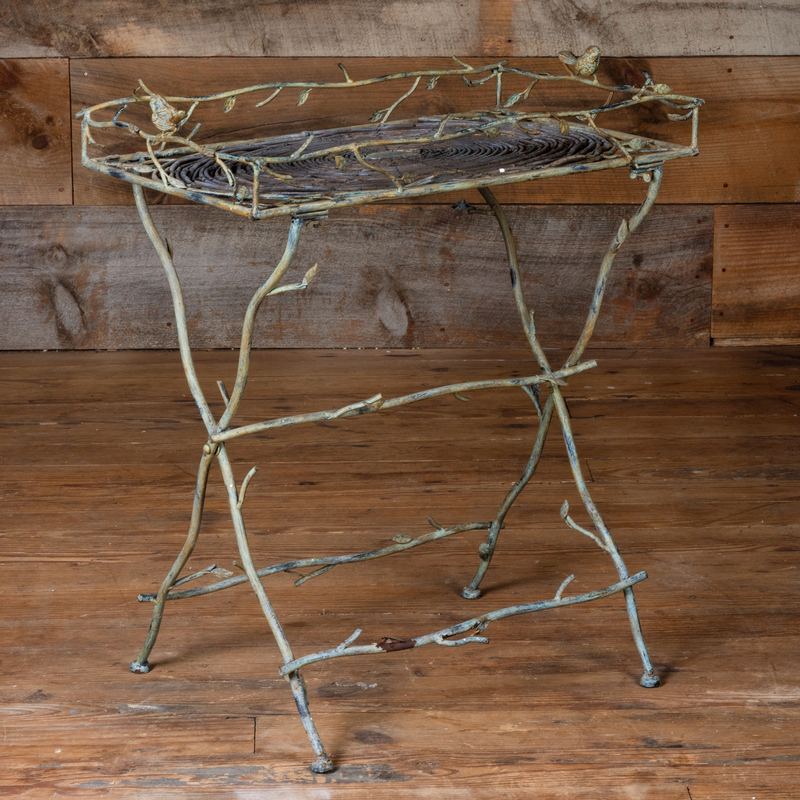 Painted Wrought Iron Twig Form Tray Table with Birds