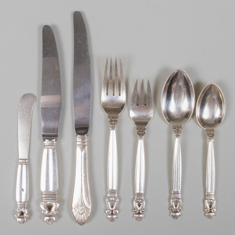 Georg Jensen Part Silver Flatware Service in the 'Acorn' Pattern