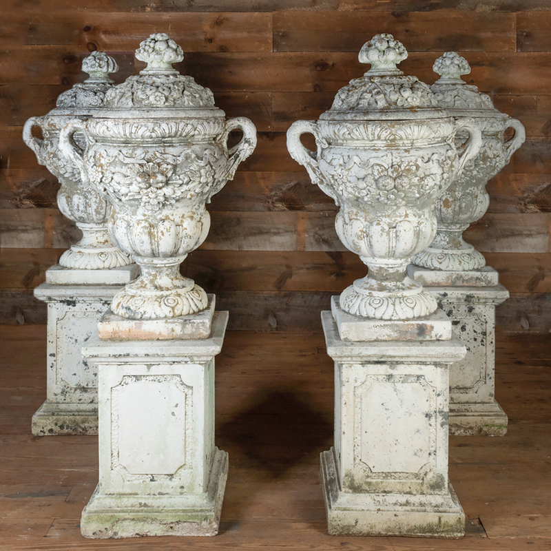 Four White Painted Terracotta Covered Urns on Pedestals
