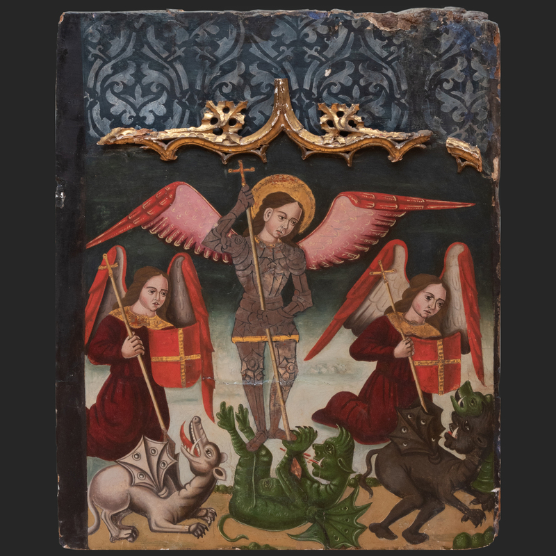Italian School: St. George And The Dragon with Two Angels and Demons