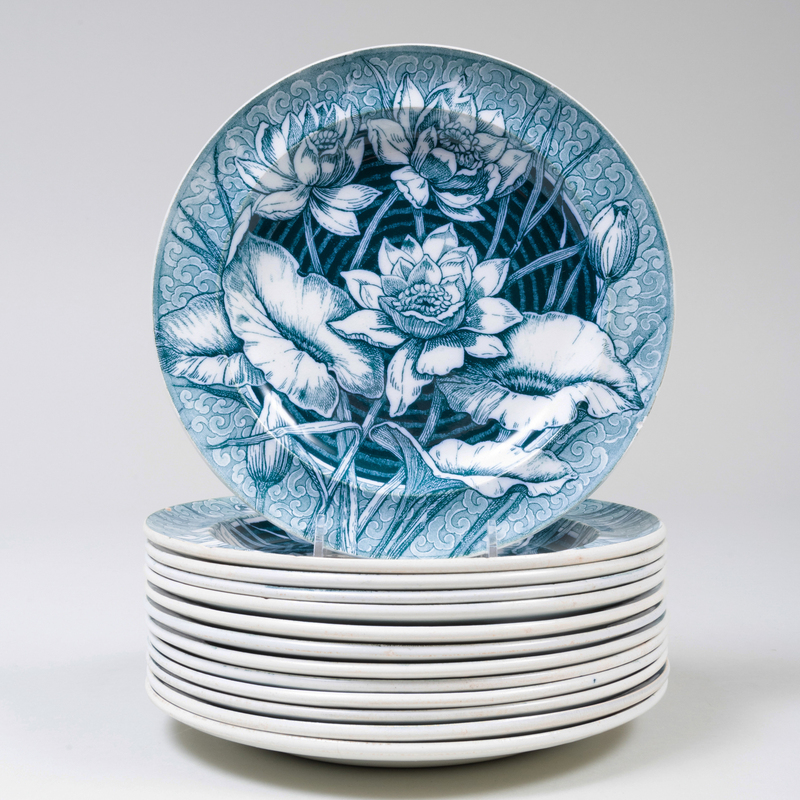 Set of Thirteen Wedgwood Transfer Printed Salad Plates in the 'Lily' Pattern