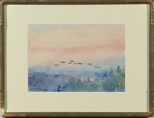 Florence Nightingale Thallon (1856-1924): Landscape with Birds in Flight