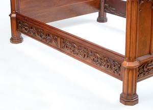 GOTHIC CARVED MAHOGANY BEDSTEAD, POSSIBLY NEW YORK, C. 1850