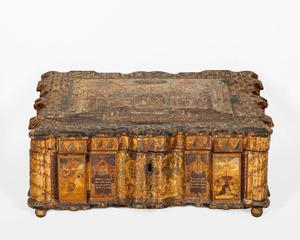GERMAN PAINTED VENEER BIBLE BOX