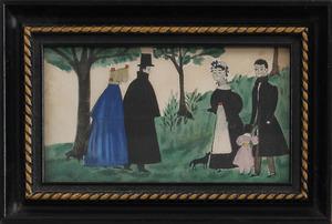 American School: Figure Group and a Portrait Miniature