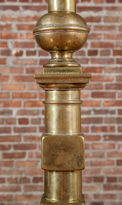 Two Brass and Iron Andirons, Mounted as Lamps