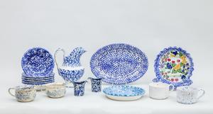 Group of Seventeen Blue Spatterware Articles