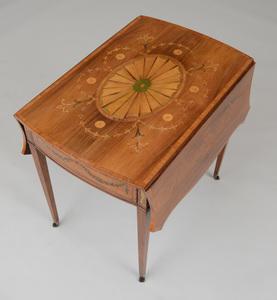 FINE GEORGE III INLAID ROSEWOOD PEMBROKE TABLE