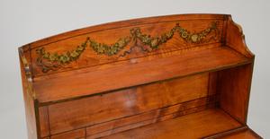 GEORGE III INLAID PAINTED SATINWOOD LADY'S WRITING TABLE