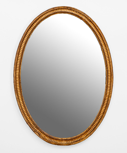 George III Style Oval Giltwood Mirror