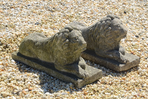PAIR OF ENGLISH COMPOSITION RECUMBENT LIONS