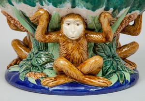 Glazed Pottery Centerpiece with Monkey Decoration