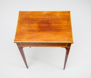 Swedish Neoclassical Mahogany and Fruitwood Inlaid Side Table