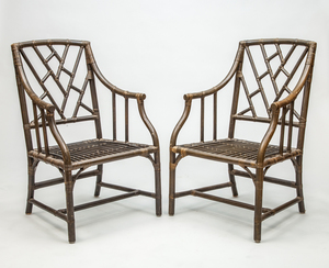 Pair of George III Style Green-Stained Cockpen Armchairs