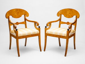 Pair of Swedish Neoclassical Style Birch and Ebonized Armchairs