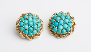 Pair of 14K Gold and Turquoise Earclips