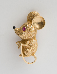 14K Gold, Ruby and Enamel Mouse Pin