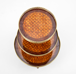 Louis XVI Style Gilt-Metal-Mounted Mahogany and Kingwood Parquetry Étagère, 20th Century