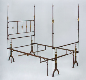 WROUGHT-IRON AND BRASS TALL-POST BEDSTEAD
