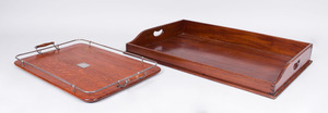 GEORGE III STYLE MAHOGANY BUTLER'S TRAY AND A SILVERPLATE-MOUNTED OAK TWO-HANDLED TRAY