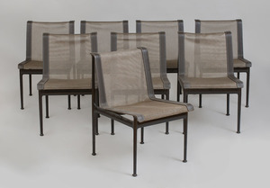 Set of Eight Painted Metal and Mesh-Upholstered Patio Chairs, Richard Schultz