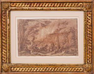 ERCOLE BAZZICALUVA (C. 1610- C. 1641): AN EXTENSIVE MOUNTAINOUS LANDSCAPE WITH FIGURES