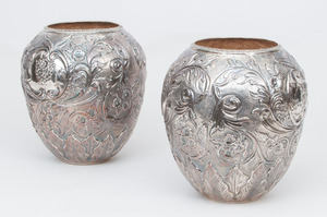 PAIR OF REPOUSSÉ STERLING OVOID VASES