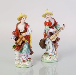 PAIR OF DRESDEN PORCELAIN FIGURES OF MALABAR MUSICIANS