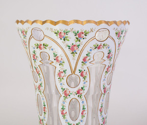 PAIR OF CONTINENTAL PAINTED AND CASED GLASS VASES